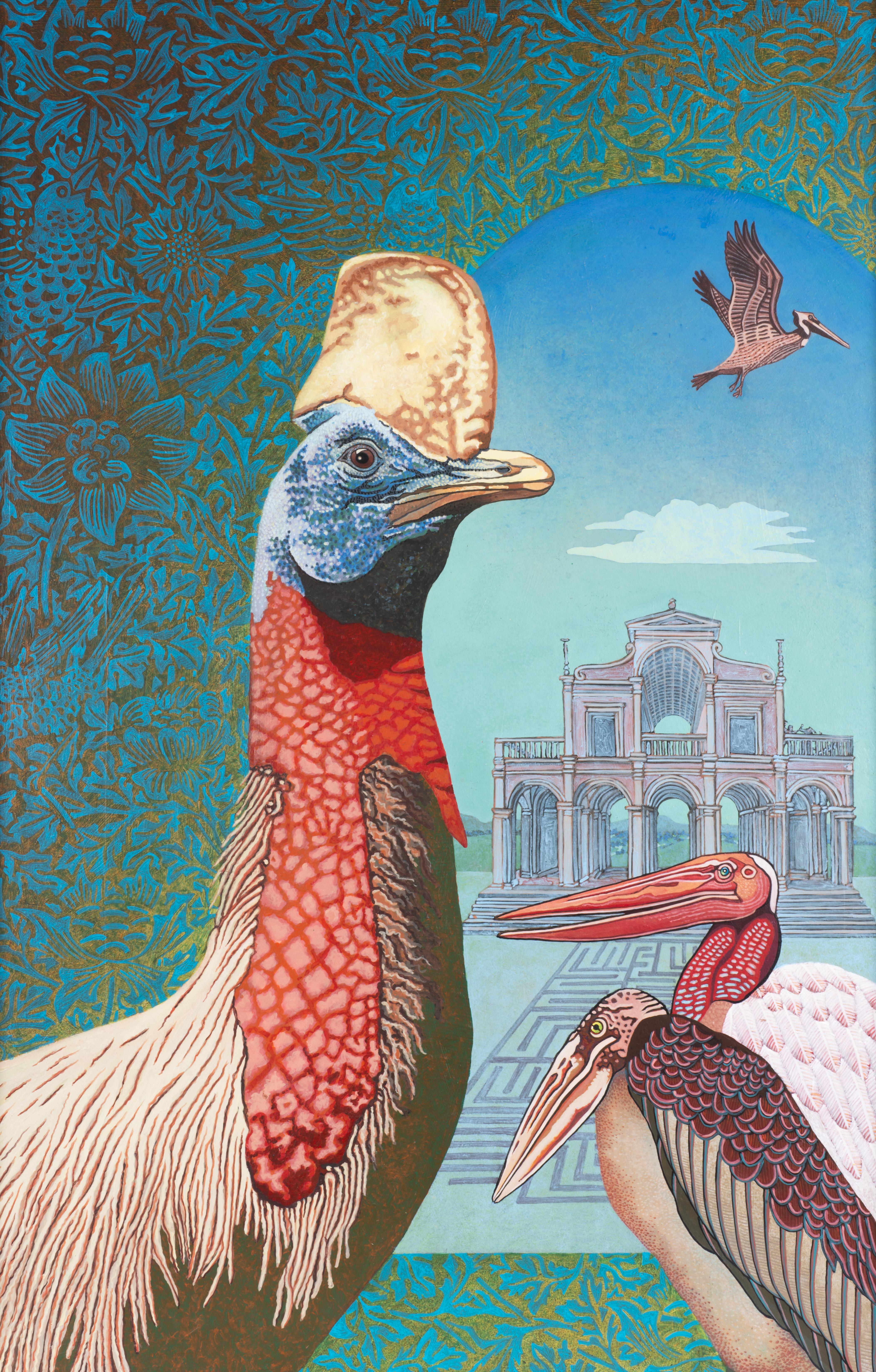 Het vogelparadijs, acrylverf op paneel 100 x 65 cm