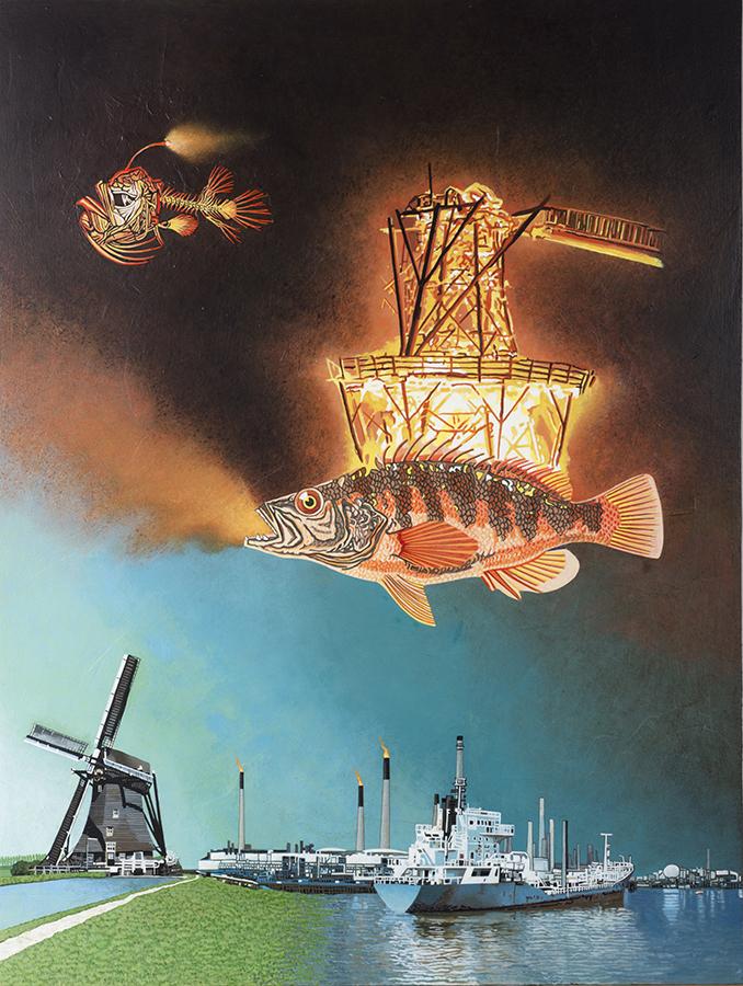 Tussen dromen en waken, acrylverfschilderij op paneel 100 x 80 cm
