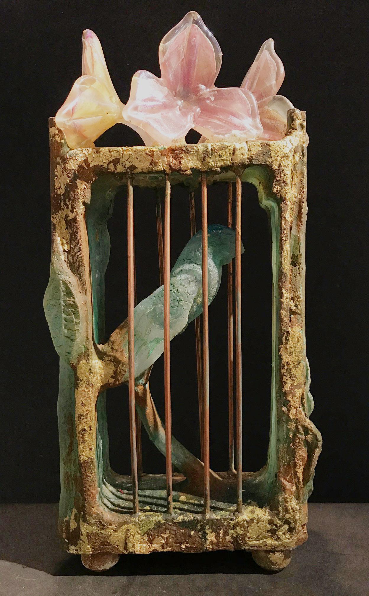Papegaai, glasobject 50x25x11 cm