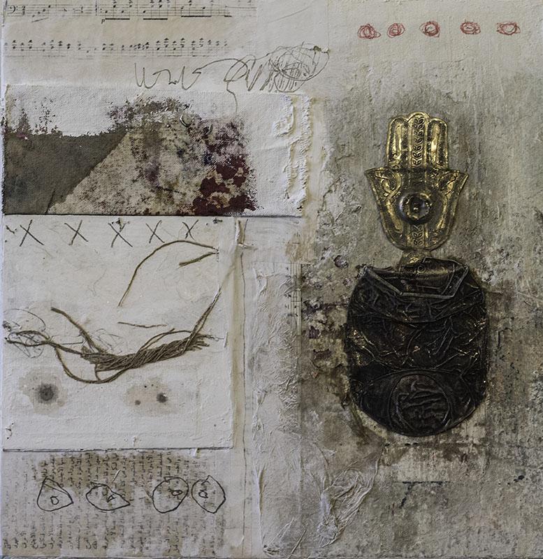 Galerie Delfi Form, schilderij gemengde techniek 40x40x4 cm z.t. van Quraish