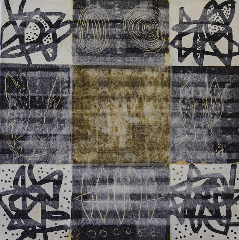 Window II, schilderij, gemengde techniek, 50x50x4 cm