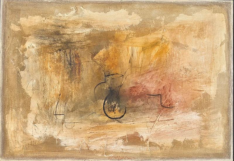 Paesaggio dell anima mia, paneelschildering in gemengde techniek 70x100x6 cm