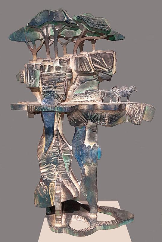 Beeld van brons getiteld 'Serengeti 1'