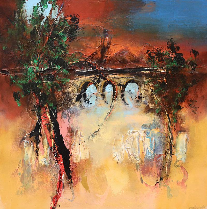 evening mood schilderij 100x100 cm